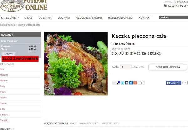 Przykład ciekawego e-commerce w polskim hotelu – sprzedaż cateringu