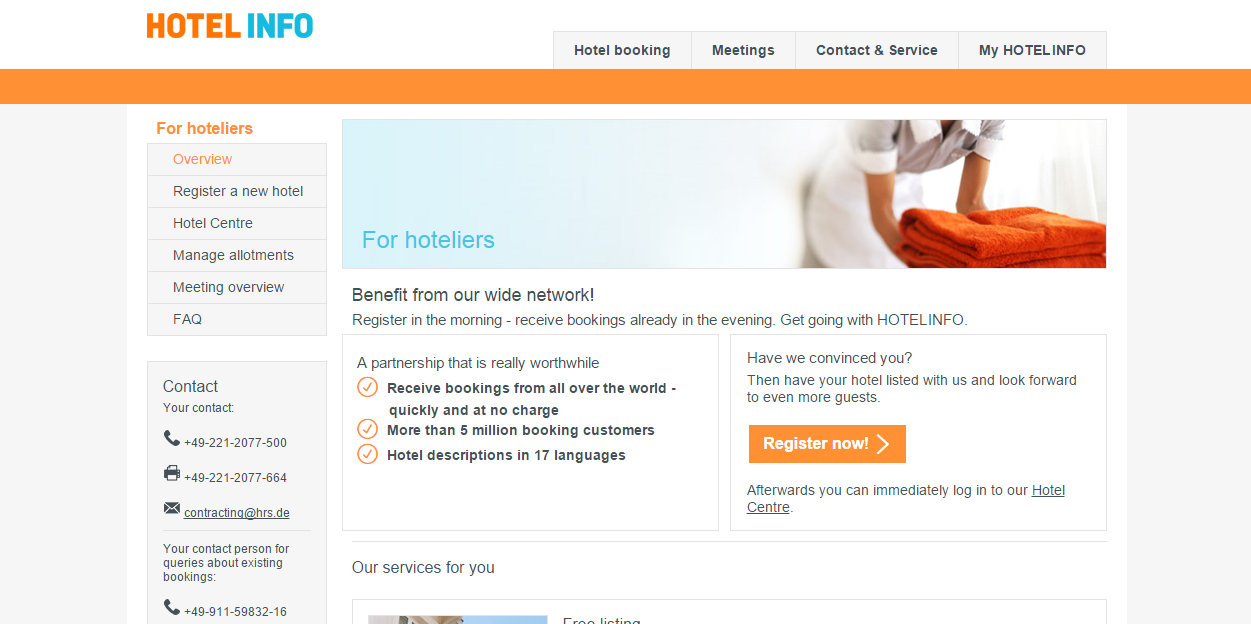 hotel info   For hoteliers   Overview